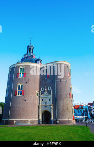 cityscape with town gate of Enkhuizen, Netherlands - Stock Photo