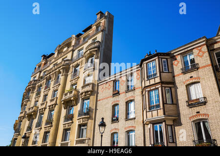 facade of an old building in the Quartier Latin in Paris - Stock Photo