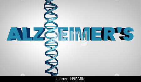 Alzheimer and alzheimer's disease genetics as text with a dna double helix strand as a dementia mental health and - Stock Photo