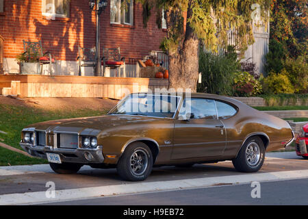 An Oldsmobile 442 muscle car in Paris, Brant County, Ontario, Canada. - Stock Photo