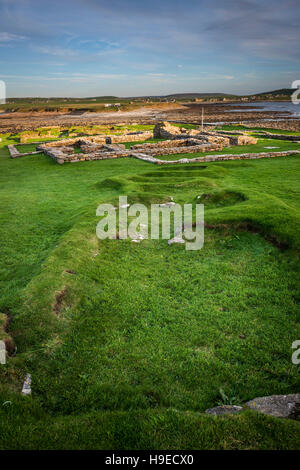 Pictish and Norse settlement remains on The Brough of Birsay, a tidal island off NW Mainland Orkney, Scotland, UK - Stock Photo