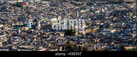 A Panoramic View Of The Medina (Fez el Bali) From Borj Nord, Fez, Morocco - Stock Photo