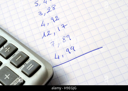 Sum of figures for outlay written on note pad and calculator - Stock Photo