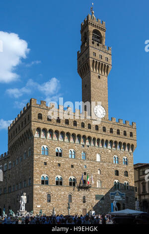 The Palazzo Vecchio (Old Palace) is the town hall of the city of Florence, Italy. - Stock Photo