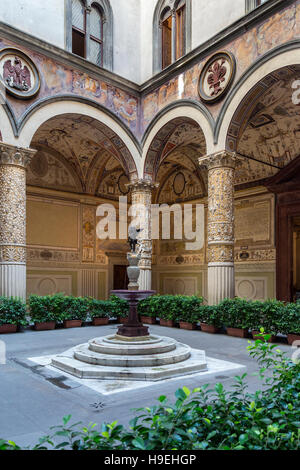 Interior courtyard in the Palazzo Vecchio (Old Palace) is the town hall of the city of Florence, Italy. - Stock Photo