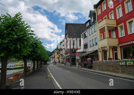 Sankt Goar, Germany - July 8, 2011: Rhine embankment in medieval village of Sankt Goar with Rheinfels Castle, Germany. - Stock Photo