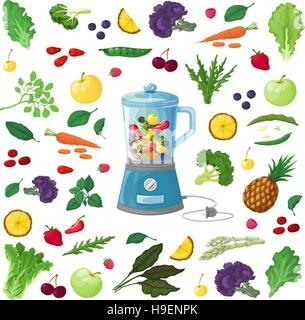 Vector Illustration of fruits, vegetables and herbs, made in a realistic style. ingredients for preparing drinks - Stock Photo