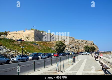 View of the Venetian castle on top of the hill, Rethymno, Crete, Greece, Europe. - Stock Photo