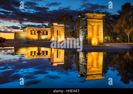Madrid. Image of Temple of Debod in Madrid , Spain during sunset. - Stock Photo