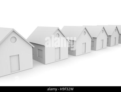 White empty houses with space for windows and doors on the isolated background - Stock Photo