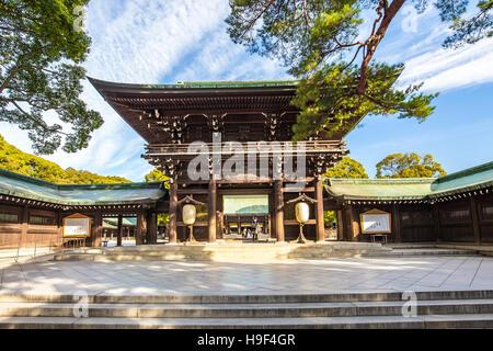 Tokyo, Japan - February 16, 2015: Meiji Jingu Shrine in Shibuya, Tokyo- Japan. - Stock Photo