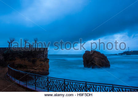 Atlantic waves lash the resort town of Biarritz, in the Basque region of France. - Stock Photo