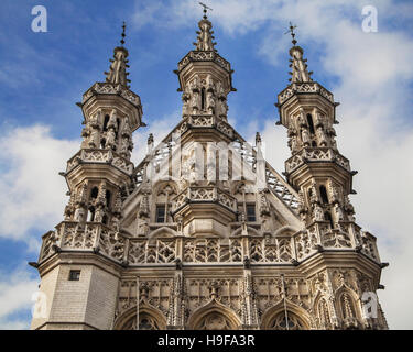 Spires of the Town Hall of Leuven, Belgium. - Stock Photo