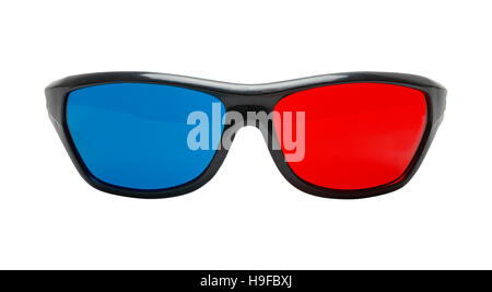 Cut Out Black Plastic 3D Glasses Front View. - Stock Photo