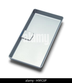 Empty Grey Tip Tray Isolated on White Background. - Stock Photo