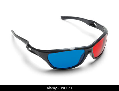 Plastic 3D Movie Glasses Isolated on White Background. - Stock Photo