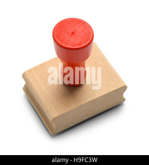 Wood Red Rubber Stamper Isolated on White Background. - Stock Photo