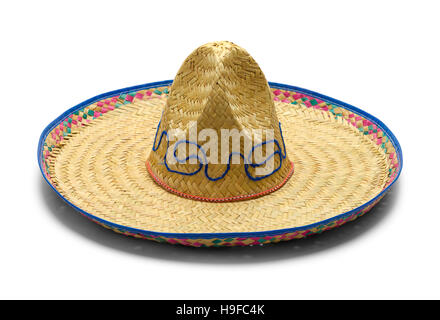 Mexican Straw Sombrerro Isolated on White Background. - Stock Photo