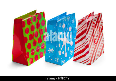 Holiday Christmas Bags Isolated on White Background. - Stock Photo