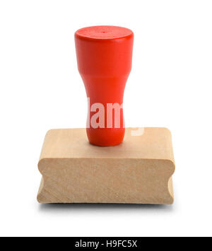 Red Wood Rubber Stamper Isolated on White Background. - Stock Photo