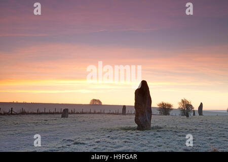 Early on a frosty February morning at the West Kennet Avenue, at Avebury in Wiltshire, England, a UNESCO World Heritage - Stock Photo