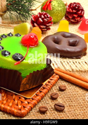 christmas dessert on christmas background - Stock Photo