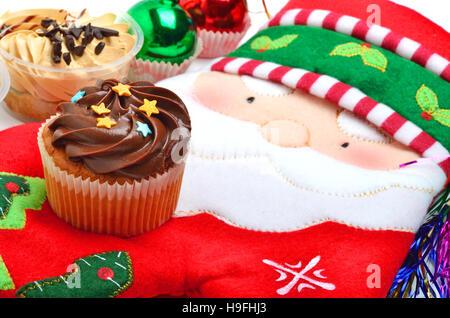 cupcake on christmas background - Stock Photo