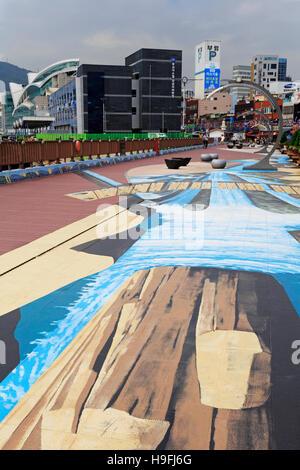 Waterfront Promenade, Nampo District, Busan, South Korea, Asia - Stock Photo