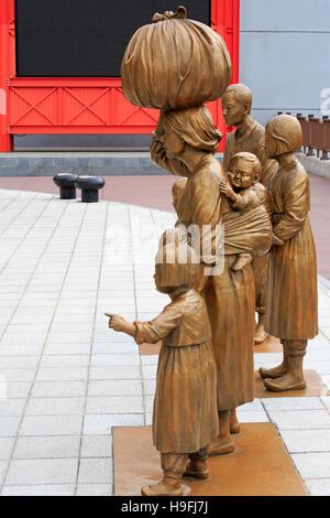 Promenade sculpture, Nampo District, Busan, South Korea, Asia - Stock Photo