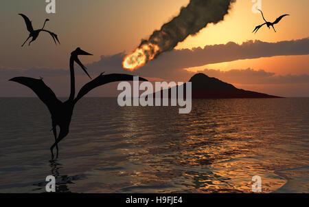 Quetzalcoatlus Witnessing The  Paleogene Extinction Event. - Stock Photo