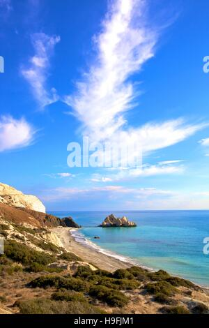 Saracen Rock, Paphos, Cyprus, Eastern Mediterranean Sea - Stock Photo