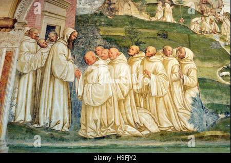 renaissance frescos, st Benedict life, painting by Il Sodoma, Chiostro Grande (Great Cloister), Abbey of Monte Oliveto - Stock Photo