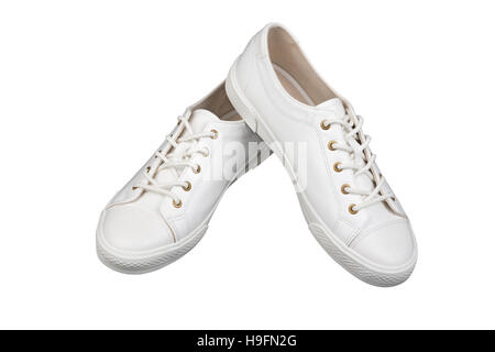 Women's white sport shoes isolated on white background - Stock Photo