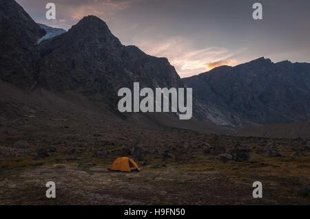 Base camp in Auyuittuq National Park scenery, Nunavut, Canada. - Stock Photo