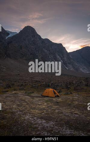 Base camping in Auyuittuq National Park scenery, Nunavut, Canada. 1/3 - Stock Photo