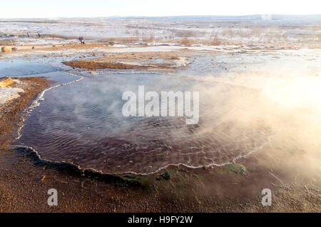 Great Geysir Hot Spring dormant since 1916 geyser geothermal area with numerous hot springs, Iceland - Stock Photo