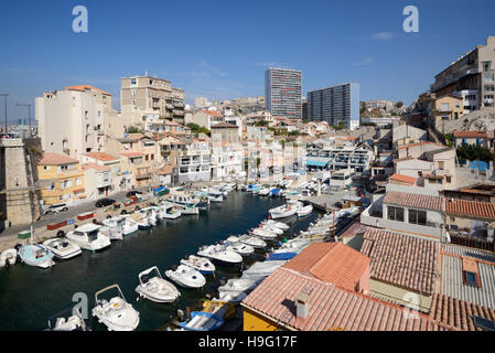 The small fishing port at Vallon des Auffes, & its traditional fishermen's houses or cabanons, on the Corniche Marseille - Stock Photo