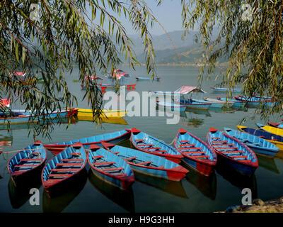 Pleasure Boats on Pokhara Lake (Phewa Tal) Nepal, Asia. - Stock Photo