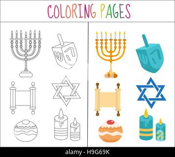 Coloring book page. Hanukkah set. Sketch and color version.  for kids. Vector illustration - Stock Photo