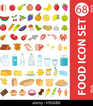 Big set icons food, flat style. Fruits, vegetables, meat, fish, bread, milk, sweets.   isolated on white background. - Stock Photo