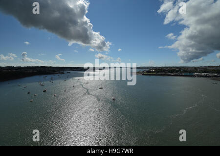 Dramatic view looking west down Milford Haven from the Cleddau bridge