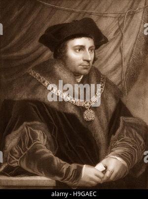 Sir Thomas More, Thomas Morus or More, 1478 - 1535, an English statesman, humanist writer and a saint and martyr - Stock Photo