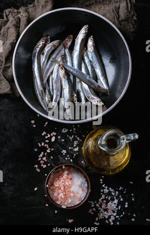 Raw fresh anchovies fishes - Stock Photo