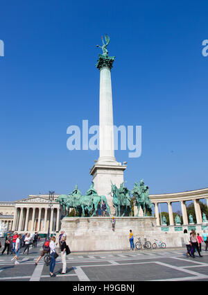 Column with Archangel Gabriel, holding the Hungarian Holy Crown and the apostolic double cross, on Heroes Square, - Stock Photo