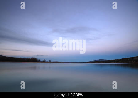 Dusk on Lake Santillana, Manzanares del Real, Spain - Stock Photo