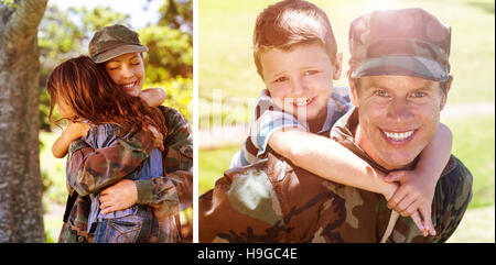 Composite image of happy soldier giving piggyback to his son - Stock Photo