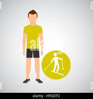 sport man concept skiing icon design vector illustration eps 10 - Stock Photo
