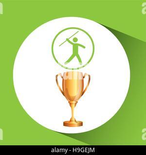 silhouette man javelin athlete trophy vector illustration eps 10 - Stock Photo
