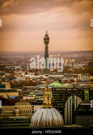 St Paul's Cathedral and the BT Telecom Tower, London, UK. - Stock Photo