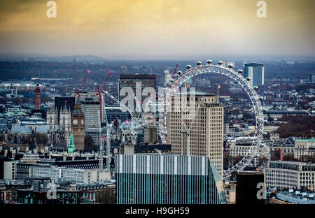 London skyline with the London eye, Big Ben, and Westminster Abbey - Stock Photo
